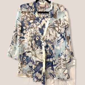 Navy Floral Semi Sheer Tunic Blouse Small Chico's